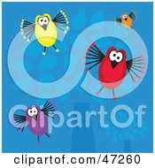 Clipart Illustration Of Colorful Birds Flying Down From A Blue Tree Background