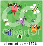 Clipart Illustration Of A Green Background Of Funny Birds Bees And Flowers by Prawny