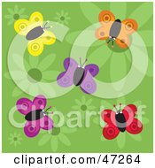 Clipart Illustration Of A Green Background Of Butterflies And Flowers by Prawny