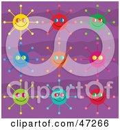 Clipart Illustration Of A Digital Collage Of Colorful Suns On A Purple Background