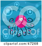 Pink Octopus With Bubbles In Blue Water
