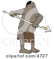 Native American Man Holding A Sharp Pointed Spear Clipart by djart