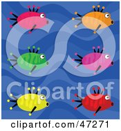 Clipart Illustration Of A Blue Wave Background With Six Colorful Fish by Prawny