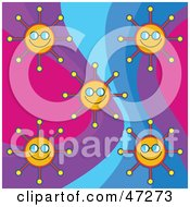 Clipart Illustration Of A Digital Collage Of Happy Suns On A Retro Colorful Background