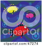 Clipart Illustration Of A Blue Wave Background With Three Fish Blowing Bubbles by Prawny