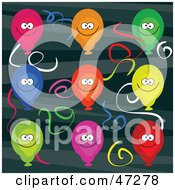 Royalty Free RF Clipart Illustration Of A Retro Green Background Of Colorful Balloons And Streamers by Prawny