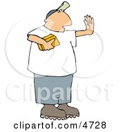 Man Holding A Gold Brick And Hand Gesturing For Someone To Stop Clipart