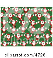 Royalty Free RF Clipart Illustration Of A Green Background Of Happy Santas by Prawny