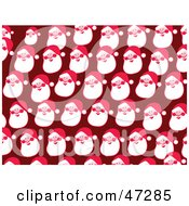 Royalty Free RF Clipart Illustration Of A Red Background Of Happy Santa Faces by Prawny