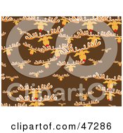 Royalty Free RF Clipart Illustration Of A Brown Background Of Rudolph Heads by Prawny