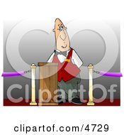 Movie Ticket Taker Standing Behind A Podium And Gate Clipart
