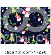 Blue Background Of Christmas Trees Snowflakes Holly And Santas