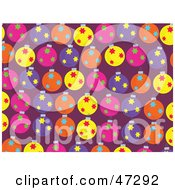 Purple Background Of Colorful Star Patterned Baubles