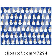 Royalty Free RF Clipart Illustration Of A Blue Background Of Snowmen by Prawny