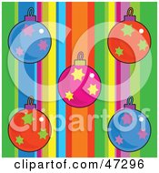 Striped Background With Colorful Christmas Ornaments