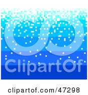 Royalty Free RF Clipart Illustration Of A Gradient Blue Background With Falling White Pixels