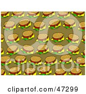 Royalty Free RF Clipart Illustration Of A Brown Background Of Cheeseburgers by Prawny