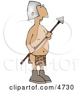 Native Guard Holding A Spear Weapon Clipart