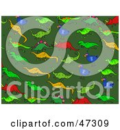 Royalty Free RF Clipart Illustration Of A Green Background Of Dodo Birds And Dinosaurs by Prawny