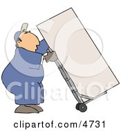 Male Mover Moving A Heavy RefrigeratorFreezer With A Dolly Clipart
