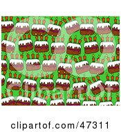 Green Background With Rows Of Birthday Cakes