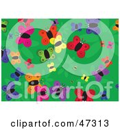 Royalty Free RF Clipart Illustration Of A Green Background With Scattered Butterflies