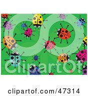 Royalty Free RF Clipart Illustration Of A Green Background With Scattered Colorful Ladybugs by Prawny