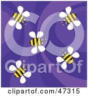 Royalty Free RF Clipart Illustration Of A Retro Purple Background With Flying Bees by Prawny
