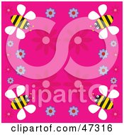 Royalty Free RF Clipart Illustration Of A Pink Background Bordered With Flowers And Yellow Bees by Prawny