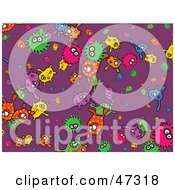 Royalty Free RF Clipart Illustration Of A Purple Background Of Colorful Bacteria by Prawny
