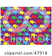 Royalty Free RF Clipart Illustration Of A Purple Background Of Colorful Cars In Traffic by Prawny