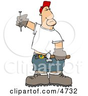 Male Carpenter With A Hammer And Nail Clipart