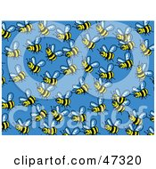 Royalty Free RF Clipart Illustration Of A Blue Background Of Busy Honey Bees by Prawny