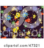 Royalty Free RF Clipart Illustration Of A Purple Background Of Colorful Germs by Prawny