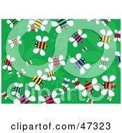 Royalty Free RF Clipart Illustration Of A Green Floral Background Of Colorful Busy Bees by Prawny