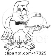 Royalty Free RF Clipart Illustration Of A Bald Eagle Hawk Or Falcon Waiter Outline
