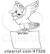 Royalty Free RF Clipart Illustration Of A Bald Eagle Hawk Or Falcon Flying A Sign Outline