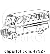 Royalty Free RF Clipart Illustration Of A Bald Eagle Hawk Or Falcon Bus Driver Outline