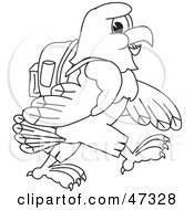 Royalty Free RF Clipart Illustration Of A Bald Eagle Hawk Or Falcon Hiking Outline