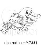 Royalty Free RF Clipart Illustration Of A Bald Eagle Hawk Or Falcon In A Sports Jersey Outline