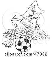 Royalty Free RF Clipart Illustration Of A Bald Eagle Hawk Or Falcon Soccer Player Outline