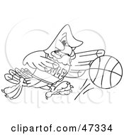 Royalty Free RF Clipart Illustration Of A Bald Eagle Hawk Or Falcon Basketball Player Outline