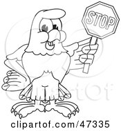 Royalty Free RF Clipart Illustration Of A Bald Eagle Hawk Or Falcon Holding A Stop Sign Outline