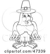 Royalty Free RF Clipart Illustration Of A Bald Eagle Hawk Or Falcon Pilgrim Outline