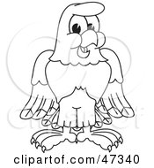 Royalty Free RF Clipart Illustration Of A Bald Eagle Hawk Or Falcon Smiling Outline by Toons4Biz