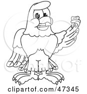 Royalty Free RF Clipart Illustration Of A Bald Eagle Hawk Or Falcon Holding Up A Tooth Outline