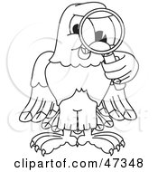 Royalty Free RF Clipart Illustration Of A Bald Eagle Hawk Or Falcon Inspecting Outline