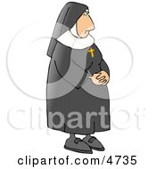 Religious Nun Wearing A Gold Cross Around Her Neck