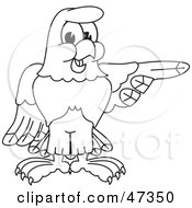 Royalty Free RF Clipart Illustration Of A Bald Eagle Hawk Or Falcon Pointing Outline