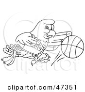 Royalty Free RF Clipart Illustration Of A Bald Eagle Hawk Or Falcon Dribbling A Ball Outline